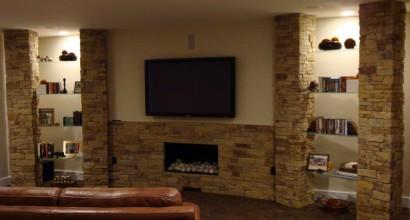 Indoor Media Center Stone Hearth Detail