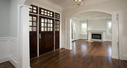 Front door & fireplace